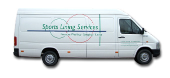 photograph of the Sports Lining Services white company van.