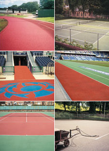 Sports Lining Services example photographs, Tennis Courts, Running Tracks, Murrayfield Stadium, Scotland